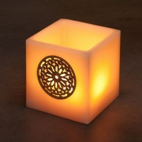 SQUARE 10 ROSE WINDOW WAX LANTERN CANDLE