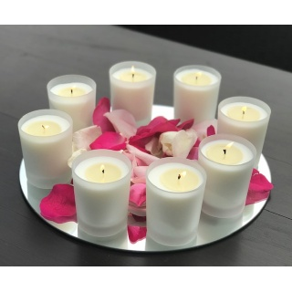 Pack 3 - Glass vegetable wax candles for events - 24 units