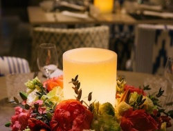 Candles with flower decoration. Flowers and candles. Candles for weddings.
